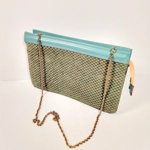 Vintage Ushy Bauer leather woven bag clutch